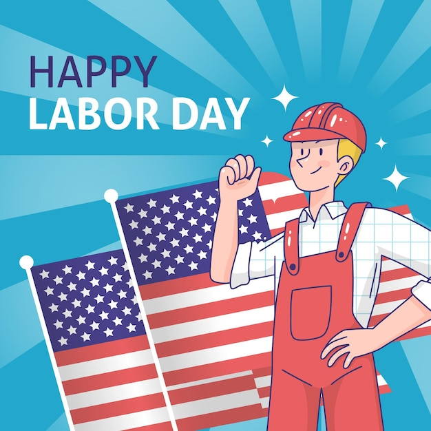 Hand drawn labor day with man and flag background Free Vector