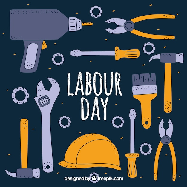Hand drawn labour day background