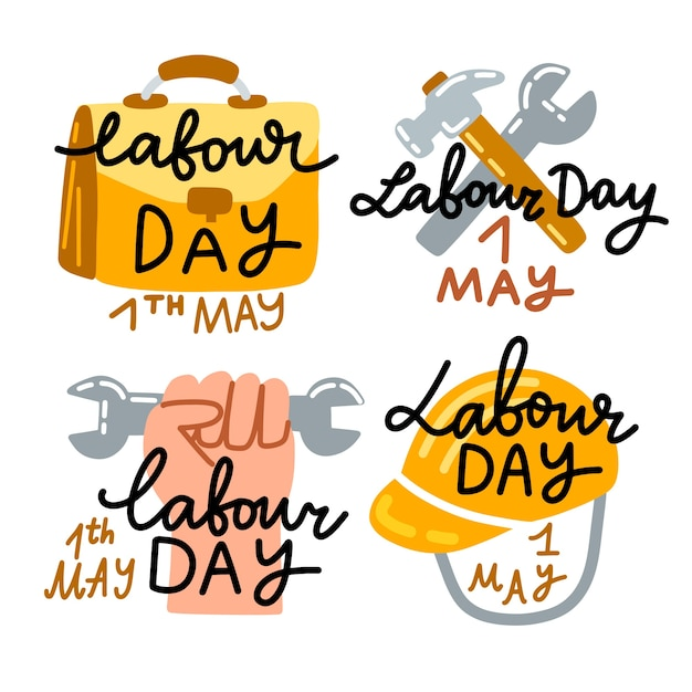 Hand drawn labour day badge collection Free Vector