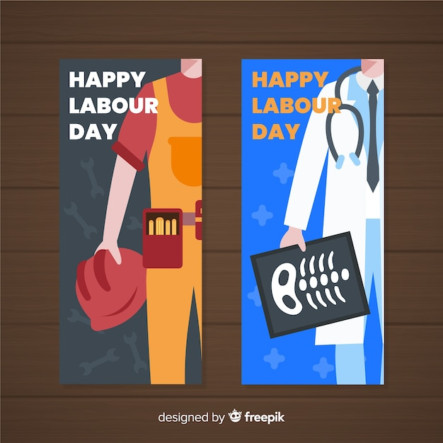 Hand drawn labour day banners Free Vector