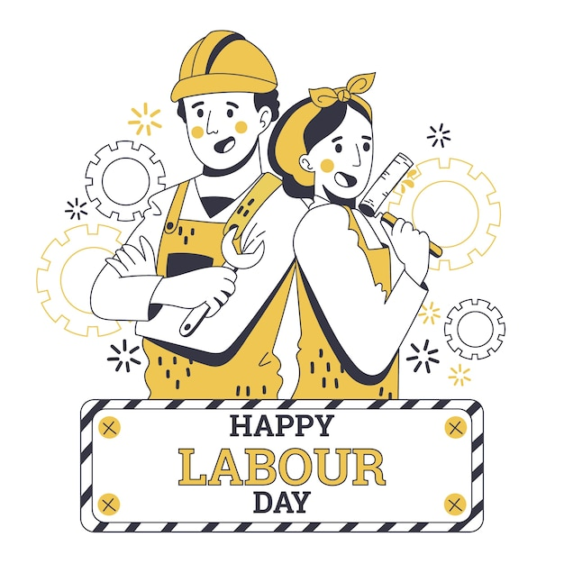 Hand drawn labour day concept Free Vector