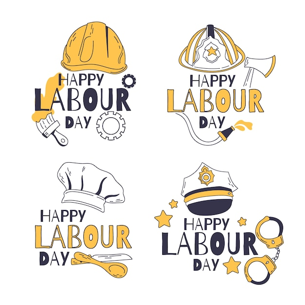 Hand drawn labour day label collection Free Vector