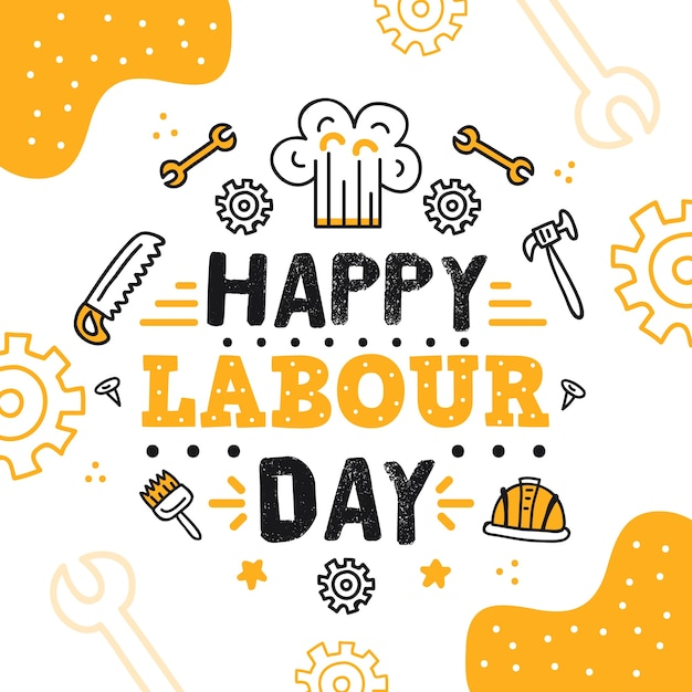 Hand-drawn labour day Free Vector