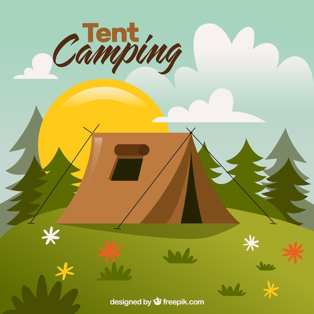 Hand drawn landescape with a tent camping Vector | Free ...