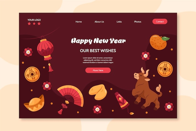 Hand-drawn landing page for chinese new year Free Vector
