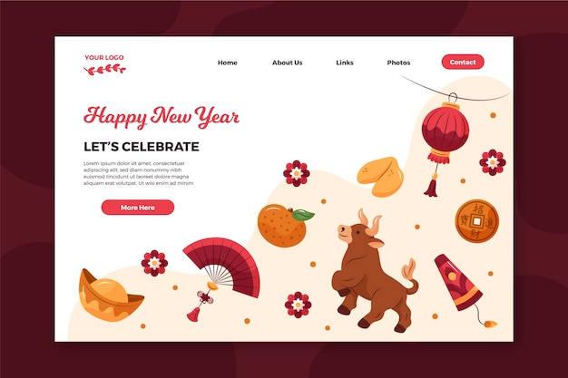 Hand-drawn landing page template for chinese new year Free Vector