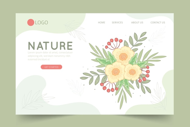 Hand drawn landing page with flowers Free Vector