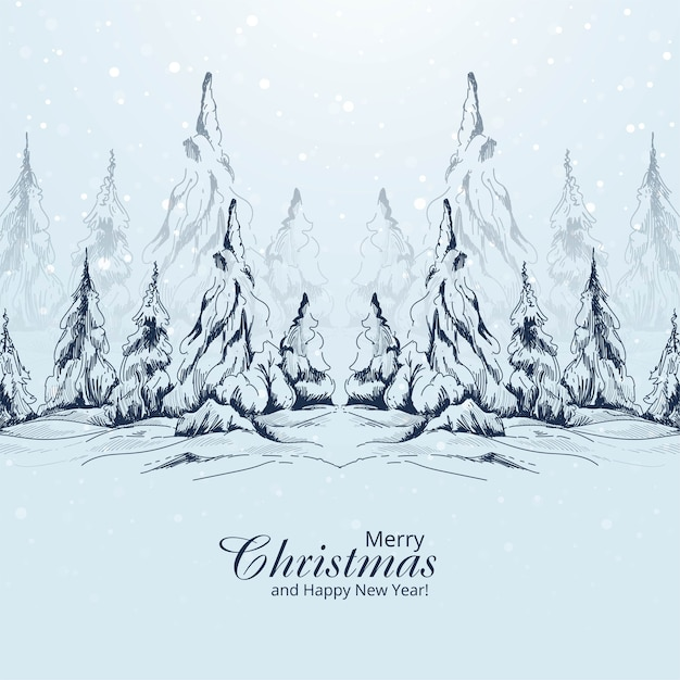 Free Vector Hand Drawn Landscape Christmas Tree Sketch