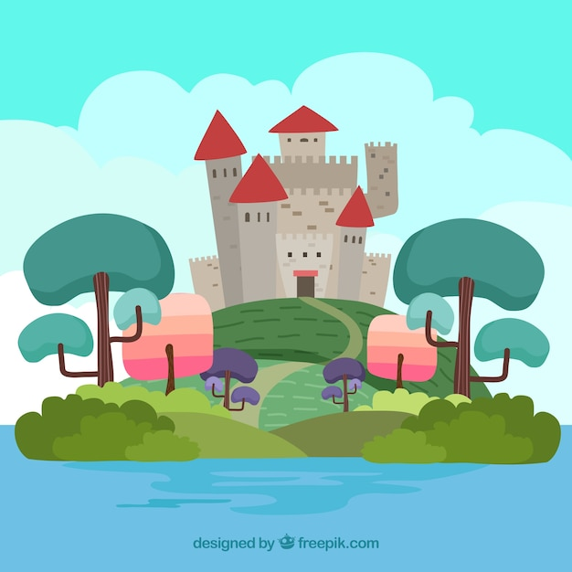 Hand-drawn landscape with castle and colored\ trees