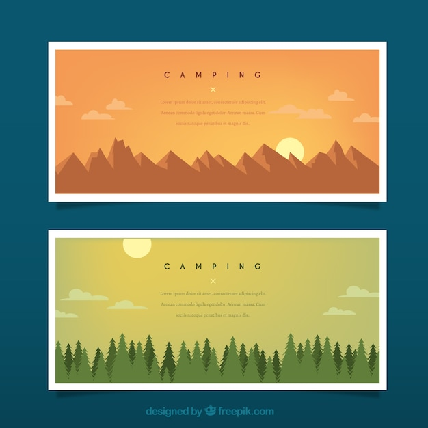 Hand drawn landscapes with mountains and pines\ banners