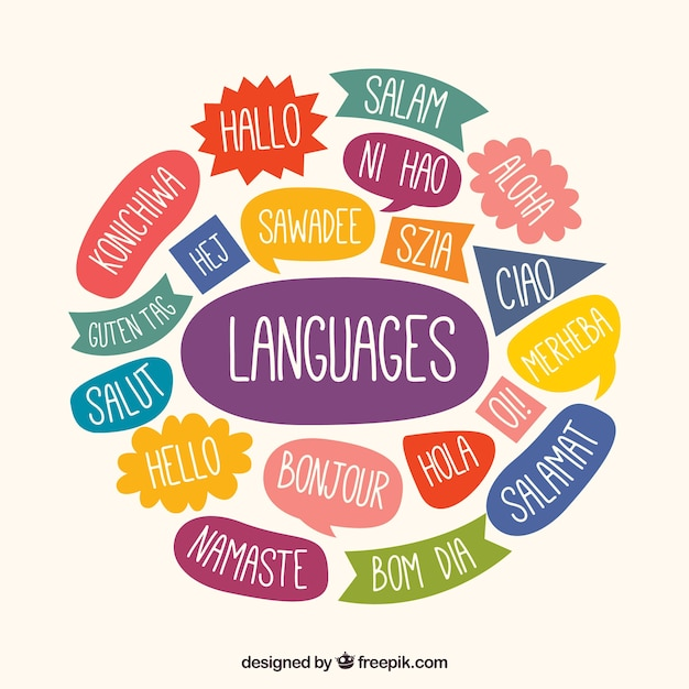 Hand drawn language composition Free Vector