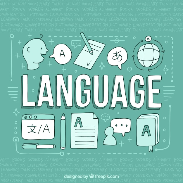 Hand drawn languages concept Free Vector