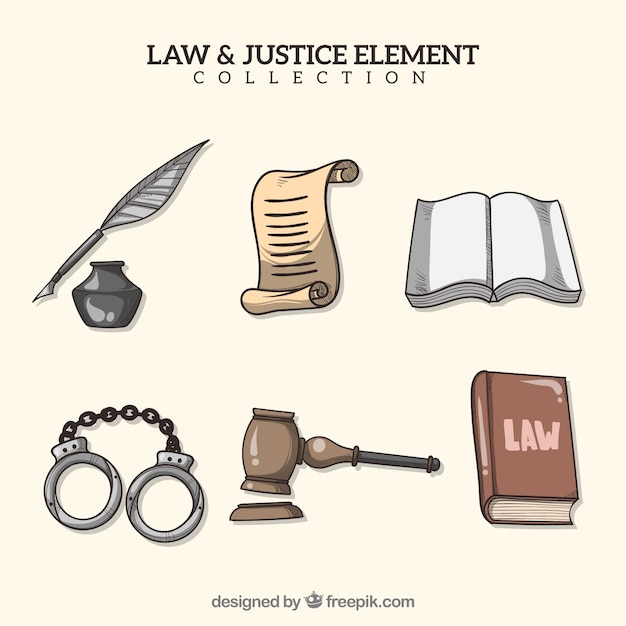 Hand drawn law and justice element collection Free Vector