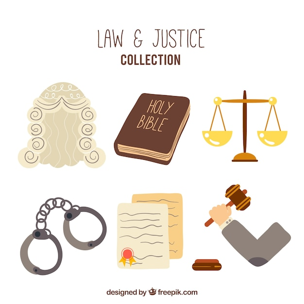 Hand drawn law and justice elements Free Vector
