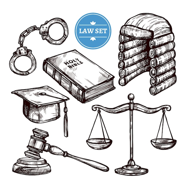 Hand drawn law set Free Vector