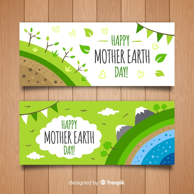 Hand drawn layers mother earth day banner Free Vector
