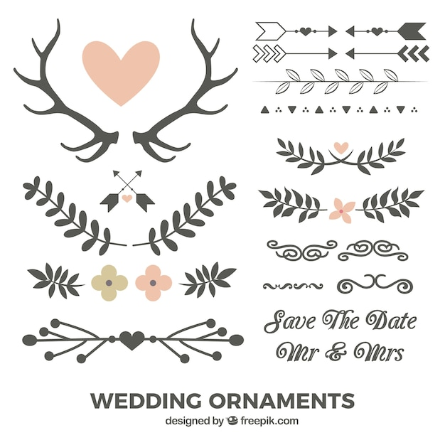 Hand drawn leaves and wedding ornaments vector premium for Wedding ornaments