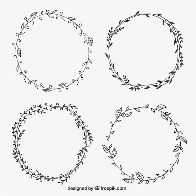 hand drawn leaves frames free vector