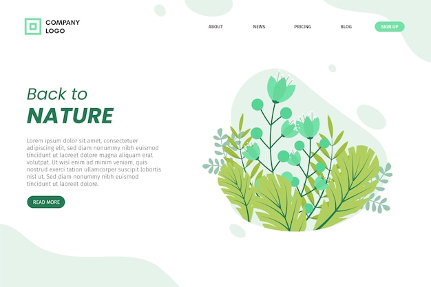 Hand drawn leaves landing page Free Vector
