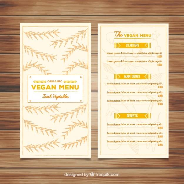 Hand drawn leaves menu of vegan restaurant