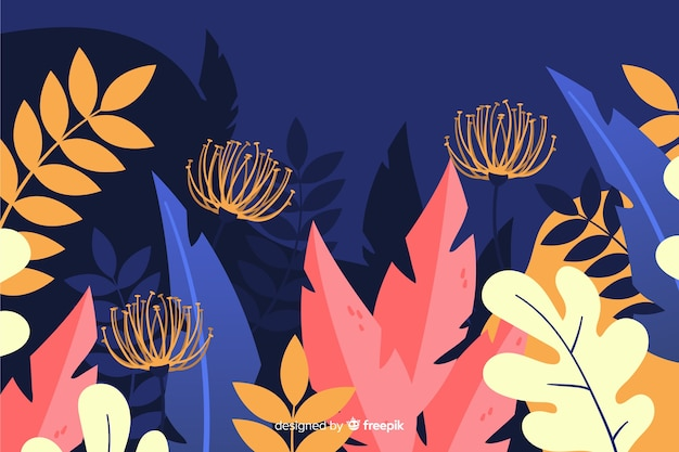 Hand drawn leaves and plants background Free Vector