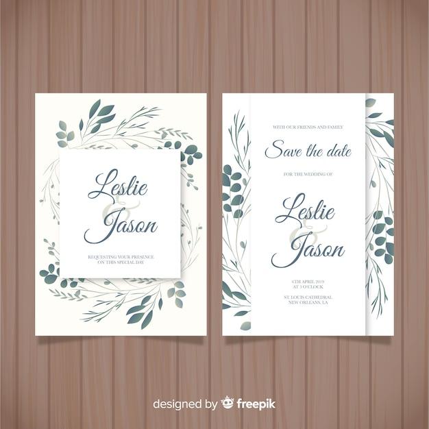 Hand drawn leaves wedding invitation template Free Vector