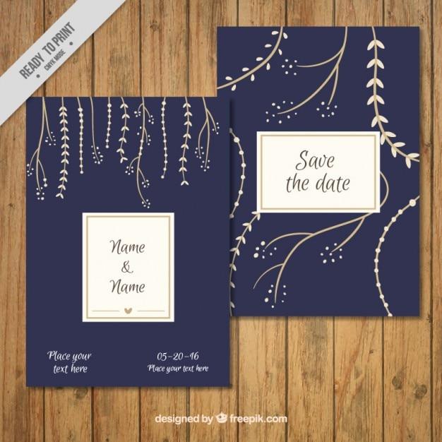 Hand Drawn Leaves Wedding Invitation Vector