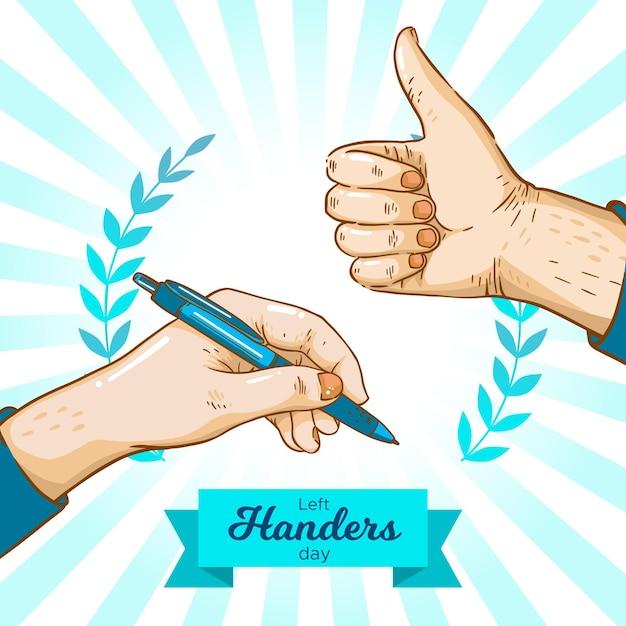 Ручной обращается день левшей с ручкой Бесплатные векторы