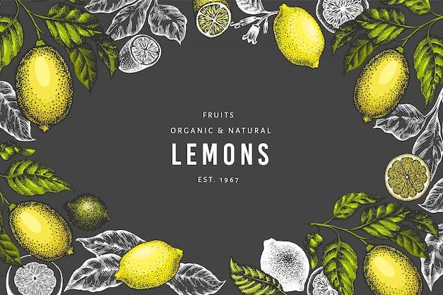 手描きレモンツリーバナーテンプレート。 Premiumベクター