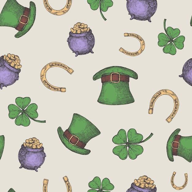 Hand drawn leprechaun hat, horseshoe and treasure pot  seamless background pattern with green lucky shamrock. Premium Vector