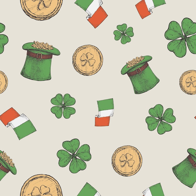 Hand drawn leprechaun hat with gold coins and irish flags Premium Vector