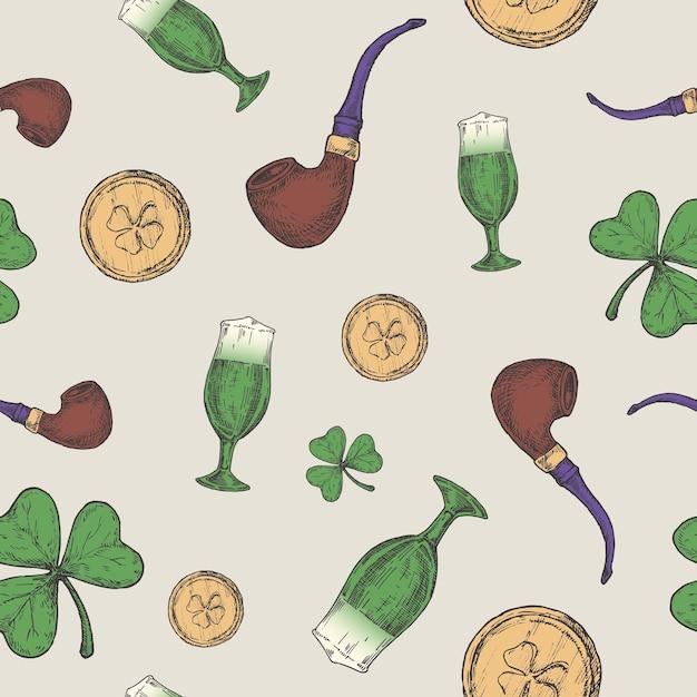 Hand drawn leprechaun pipe, golden coins and green lucky shamrock Premium Vector