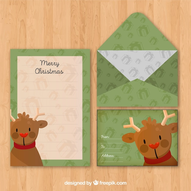 hand drawn letter and envelope template with a cute reindeer vector
