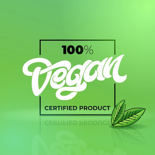 Hand drawn lettering 100 vegan certified product with square frame. handwritten lettering for restaurant, cafe menu.  elements for labels, logos, badges, stickers or icons.  illustration. Premium Vector