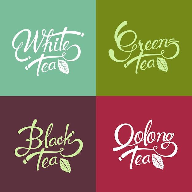 手描きレタリングデザイン紅茶-緑茶-白茶-ウーロン茶 Premiumベクター