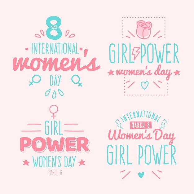 Hand drawn lettering international women's day badge collection Free Vector