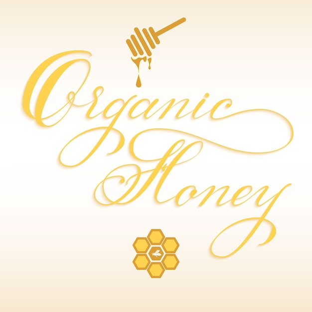 Iscrizione disegnata a mano miele biologico con mestolo di miele Vettore gratuito