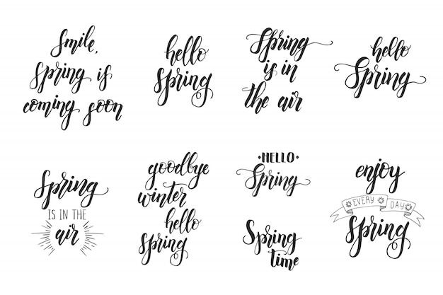 Hand drawn lettering phrase for spring. motivational quote Premium Vector