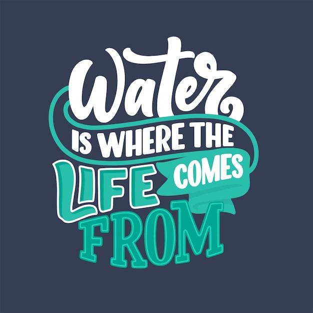 Рисованной надписи лозунг об изменении климата и водного кризиса Premium векторы