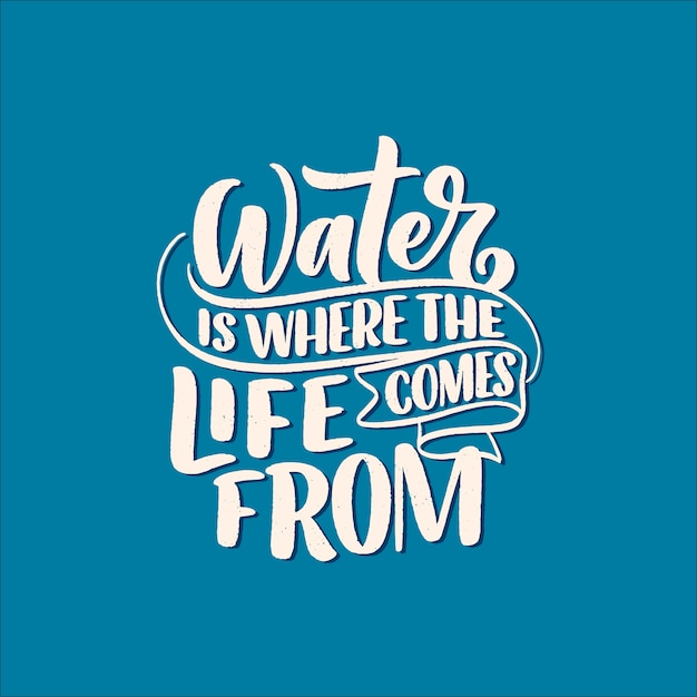Hand drawn lettering slogan about climate change and water crisis Premium Vector