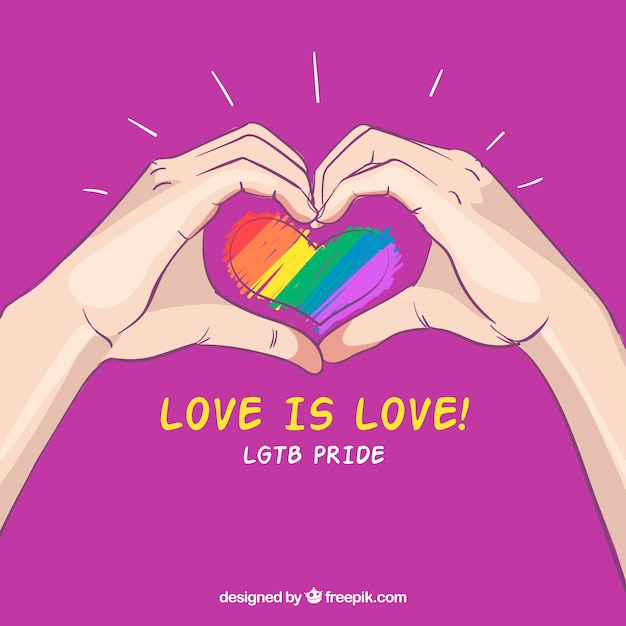 Hand drawn lgtb pride background with hands around heart Free Vector