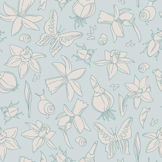 손으로 그린 된 빛 꽃 원활한 패턴 무료 벡터