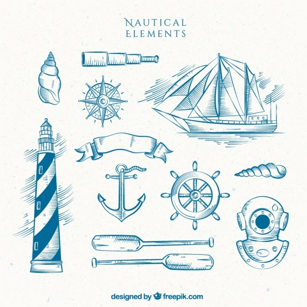 Hand drawn lighthouse with boat and other sailor elements Free Vector
