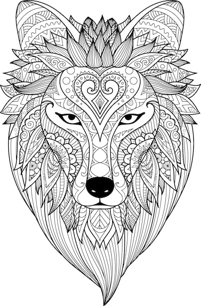 Kleurplaat 60 Hand Drawn Lion Head Vector Premium Download
