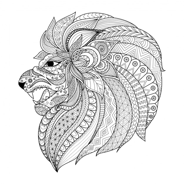 Hand Drawn Lion's Head Background Vector