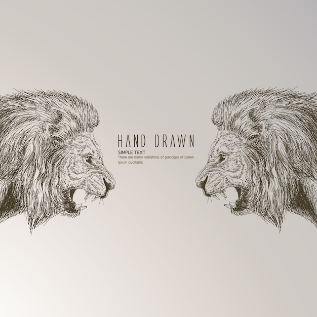 Hand drawn lion Free Vector