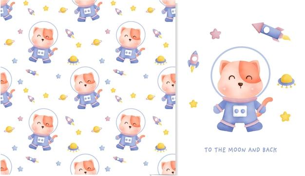 銀河のシームレスなパターンで手描きの小さな猫とスクラップブッキング、包装紙、招待状のためのグリーティングカード。 Premiumベクター