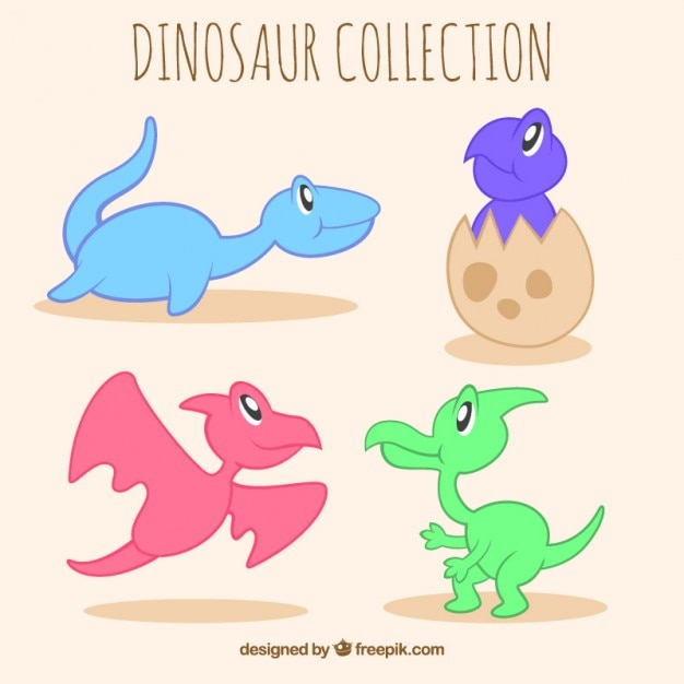 Hand drawn little dinosaurs set Free Vector