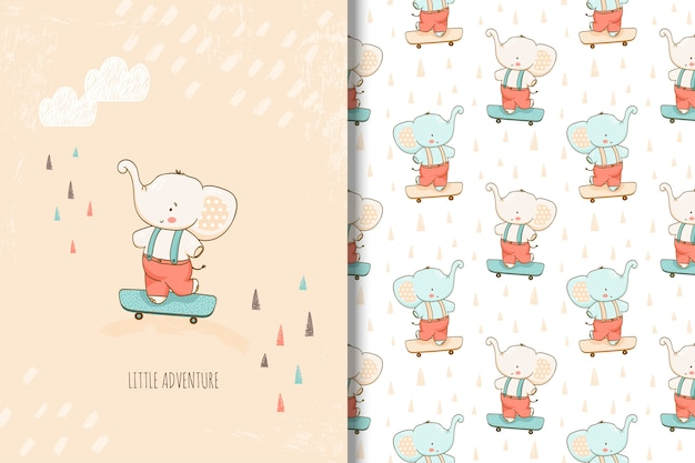Hand drawn little elephant card and seamless pattern for kids Premium Vector