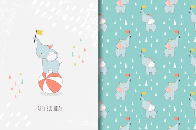 Hand drawn little elephant greeting card and seamless pattern Premium Vector
